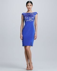 Lace Bodice Cocktail Dress by Kay Unger New York at Neiman Marcus.