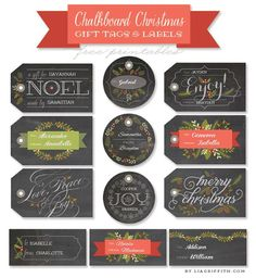 Free Printable Chalkboard Christmas Labels & Tags