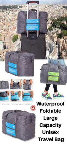 A great to have travel accessories for people who make random travel plans. This smart foldable bag can fit in a small handbag or purse or backpack and can be used as suitcase equivalent of 26inchs normal suitcase size. These bags are made with great innovative material and it is water-resistant, comfortable, and lightweight.  The soft zipper makes it easy to open and close the bag with a luxurious touch. Travel Handbags, Small Handbags, Travel Bags, Airline Travel, Luggage Straps, Beautiful Bags, Vacation Trips, Travel Accessories, My Bags