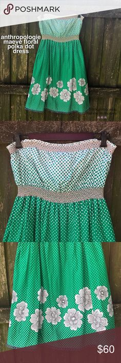 """Anthropologie Maeve Floral Polka Dot Dress The cutest strapless dress in a vibrant green with white polka dots and floral print. Bottom hem has a cute blue embroidered border. Side pockets. Elastic waistband and bustline. Outer fabric and lining are both 100% cotton. Length is 33.5"""", bust is elastic and stretches from 15""""-18"""" laid flat, waist is also elastic and stretches from 12.5""""-16"""" laid flat. This will be your new favorite dress! Worn no more than three times. In excellent gently used…"""