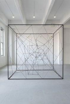 From Bortolami, Michel François, Piéce détachée (2011), Steel and magnets, 105 × 105 × 105 in