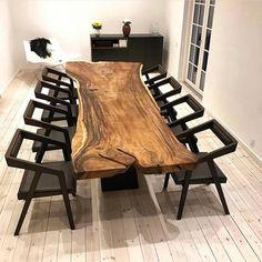 65 Trendy Home Interior Modern Dark Wood Unique Dining Tables, Wooden Dining Tables, Dining Room Table, Wooden Dining Table Designs, Live Edge Furniture, Home Furniture, Furniture Design, Wood Table Design, Dining Room Design