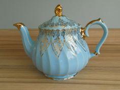 Vintage Sadler Teapot Blue with gilt trim