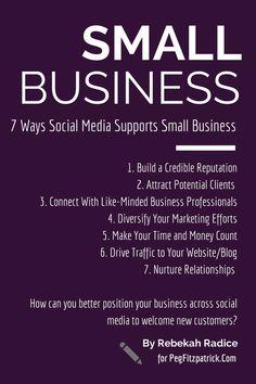 7 Ways Social Media Support Small Business http://pegfitzpatrick.com/2014/09/29/7-ways-social-media-supports-small-business/ #socialmediatips