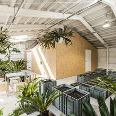 A chipboard shed and a herb garden occupy the upper floor of this ex-factory in Tokyo, which has been converted into a studio for a kimono designer.