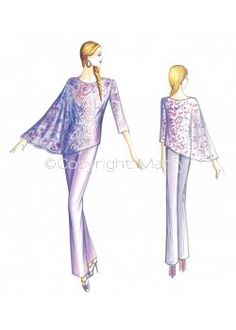 Fabric required about mt 1 50 wide 1 40 Available in sizes 42 46 50 Elegant blouse with one palm-length sleeve and one wide butterfly sleeve with seamless armscye Suggested fabric organzine or voile Beauty Illustration, Fashion Illustration Sketches, Fashion Design Sketches, Marfy Patterns, Dress Making Patterns, I Dress, Casual Looks, Beautiful Dresses, Pattern Sewing