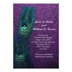 Beautiful vibrant purple glitter background with elegant teal blue peacock feather wedding invitation or RSVP. This elegant teal blue and purple peacock wedding invitation is easily customized for your event. You can delete the background picture from the back side if you want to choose your own solid background color such as teal blue or purple to match the front.  All of the invitation designs you will find on Zazzle are printed graphics with no actual ribbons, bows, jewels, gems, glitter…