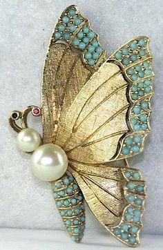 Ciner - Broche 'Papillon' - Métal Doré, Perles, Rubis et Turquoises Imitation - Vintage
