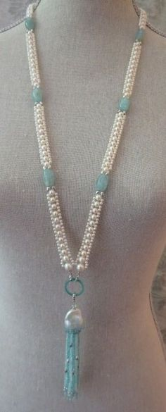 Stunning Aquamarine Pearl Blue Topaz Tassel Necklace 4
