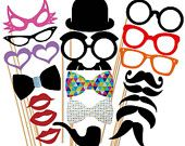 Best Party Photo Booth Props GLITTER  Set  - 20 Piece Mustache  On a Stick Wedding Party Props - Photobooth Prop. $25.00, via Etsy.