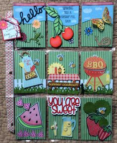 Pocket Letter #19. I made this for Sarah M.                                   in Ohio...Summer Picnic theme. I used a combination of dies from Stampin' Up, Stamps of Life, and Memory Box along with some Chipboard Stickers. June, 2016