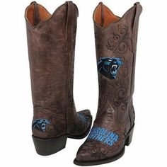 Carolina Panthers Womens Embroidered Cowboy Boots - Brown