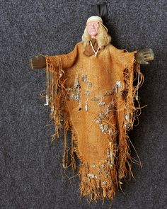 This doll is covered with Milagros which bring prayers for healing. The face is composite with leather scarf and sheep fur for hair. Textiles, Spirit Doll, Worry Dolls, Spirited Art, Voodoo Dolls, Gourd Art, Doll Maker, Soft Dolls, Textile Art