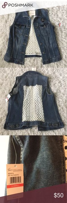 """Two by Vince Camuto Denim Eyelet Lace Vest Women's Two By Vince Camuto Blue Denim Jean Vest  White Crochet Back Panel  Sleeveless. Button front. Collared Two Chest Pockets New with Tags MSRP $129 Women's Size XS. Measures 17"""" across chest arm pit to arm pit laying flat. Length is 21"""" long from top of shoulder to bottom. Two by Vince Camuto Jackets & Coats Jean Jackets"""