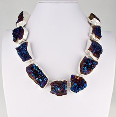 Style# LBN65: Blue Steel Necklace set in matte sterling silver. Retail $839