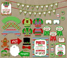 Ugly Sweater Christmas Party Package  - Holiday Decorations Favors Photo Booth Props Awards INSTANT DOWNLOAD DIY