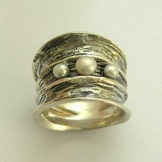 Pearls ring - Sterling silver wide ring with fresh water pearls - Bubbling emotions 2 .. $140.00, via Etsy.