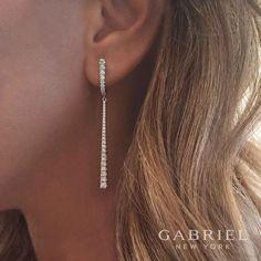 In style 18k White Gold Art Moderne Dangle Diamond Earrings