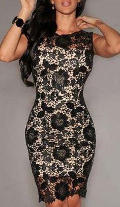 Gorgeous Black Lace! Sexy Black Flowers Hollow-out Lace Midi Dress #Sexy #Black #Floral #Lace #BodyCon #Fashion