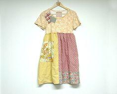 Size L/XL Boho Shabby Chic Dress, Hippie, Funky, Artsy, Upcycled Eco Clothing, Anthropologie Inspired by PrimitiveFringe on Etsy