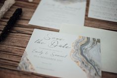 Crystals, Agate & Geodes: Wedding Stationery Inspiration. Save the date cards, available printed or as a printable PDF.