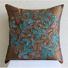 Luxury Brown Throw Pillow Covers, Sequins and Beaded Leaf... https://www.amazon.com/dp/B00VDDUWJM/ref=cm_sw_r_pi_dp_x_ZTuoyb5YYCQ0Z