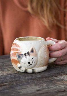 Mug Art, Pinch Pots, Cat Mug, Natural Life, Day Off, Make You Smile, Sculpting, Folk, Arts And Crafts