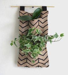 Chevron Burlap Hanging Planter by West Oak Design on Scoutmob Shoppe