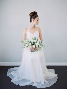 Modern all-white bridal inspiration: http://www.stylemepretty.com/california-weddings/berkeley/2016/06/24/kintsugi-editorial-submission/ | Photography: Blueberry Photography - http://www.blueberryphotography.com/
