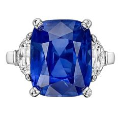 9.56 Carat Burmese Sapphire Diamond Platinum Ring | From a unique collection of vintage cocktail rings at https://www.1stdibs.com/jewelry/rings/cocktail-rings/