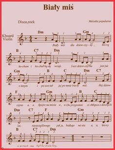 Biały miś. Polish Music, Lead Sheet, Kalimba, Music Notes, Ukulele, Sheet Music, Songs, Music Ed, Mandolin