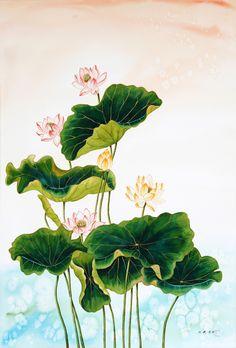 Watercolor Lotus, Lotus Painting, Watercolor Flowers, Watercolor Paintings, Chinese Painting, Chinese Art, Chinese Background, Hindu Art, Botanical Flowers
