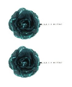 Teal flower clips