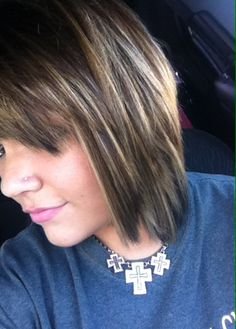 Short dark-ish brown hair  with blonde highlights.. Or Ombré as my stylist called it. #tracy at #incognito!! Hobbs, NM!