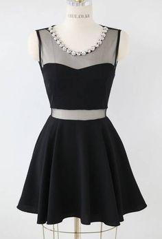 Black Sleeveless Contrast Mesh Yoke Dress - Sheinside.com