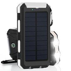 10000mAh Cargador Solar Impermeable, Batería Externa Portátil con 2 LED para para iPhone, Android Smartphone, Tables y Otros Dispositivos Digitales - http://cargadorespara.com/comprar/solares/10000mah-cargador-solar-impermeable-bateria-externa-portatil-con-2-led-para-para-iphone-android-smartphone-tables-y-otros-dispositivos-digitales/