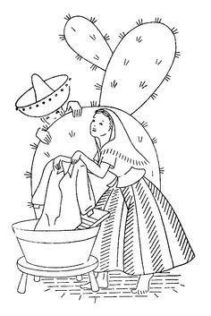 embroidery vintage Mexican lady worker