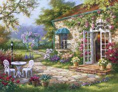 "Beautiful garden scene. Tile Mural ""Spring Patio II"" by Sung Kim"