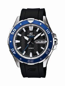 Casio Men's EFM100-1AV Edifice Stainless Steel Blue Bezel and Black Resin Strap Analog Watch Casio. $117.96. Anti-reverse rotating bezel. Stainless steel case with blue accent bezel. Water-resistant to 200 M (660 feet). Day/date display. Black resin strap with buckle closure