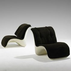 Verner Panton; Plastic and Corduroy Lounge Chairs for Horlacher, 1960s.