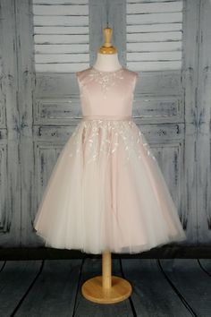 A gorgeous princess dress with satin bodice, full tulle skirt and floral lace at the waistline and neckline. Available in any satin colour with Ivory or White tulle, and Ivory or White lace with a touch of Gold embroidery. Satin Color, Pink Satin, Blush Pink, White Tulle, White Lace, Gold Embroidery, Satin Flowers, Bodice, Neckline
