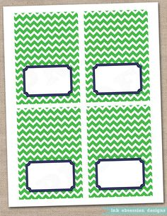 Kelly Green and Navy Blue Buffet Card Printable Labels - INSTANT DOWNLOAD
