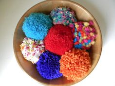 Extra large pompoms for the girls.  We play catch, dodge pompom etc.  Very soft and kid friendly!    http://kschoff21.blogspot.com/