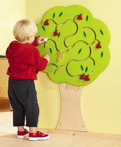 Fruit Tree Wooden Play Wall Activity Panel for Children - HABA – SensoryEdge Sensory Wall, Sensory Boards, Interactive Walls, Church Nursery, Tree Wall Decor, Waiting Rooms, Waiting Room Design, Wood Toys, Wall Design