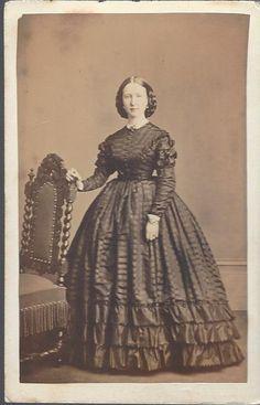 Civil War Era CDV, Young Women Standing Full Dress By Charles D. Fredricks & co