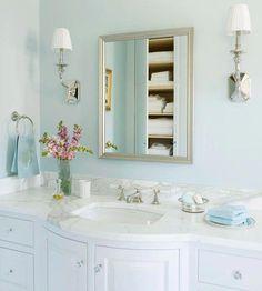 Dream Bath in Lt Blue Walls Elegant Bathroom Decor, Romantic Bathrooms, Dream Bathrooms, Bath Decor, Beautiful Bathrooms, Bathroom Interior, Small Bathroom, Master Bathroom, Cottage Bathrooms