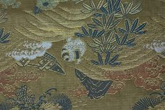 """Japanese silk maru obi """"with auspicious symbols including the three of winter - pine ,plum and bamboo in greens,gold and copper tones . 1850's robynbuntin.com"""