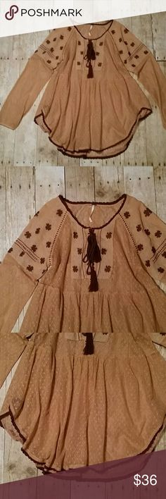 Free people embroidered tunic xs Xs tunic for festival! Good used condition! Bohemian colors at its fineat! Lace detailing. Free People Tops Tunics