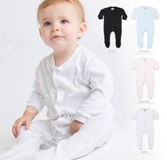 Long sleeved sleepsuit with popper opening and feet. Integral, shaped feet.