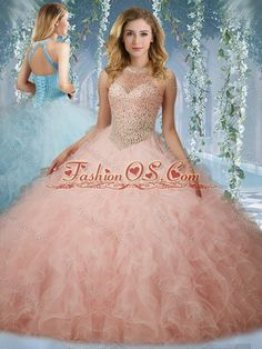 Elegant Beaded Bodice Baby Pink Quinceanera Dress with Halter Top 2c28382d3c6f